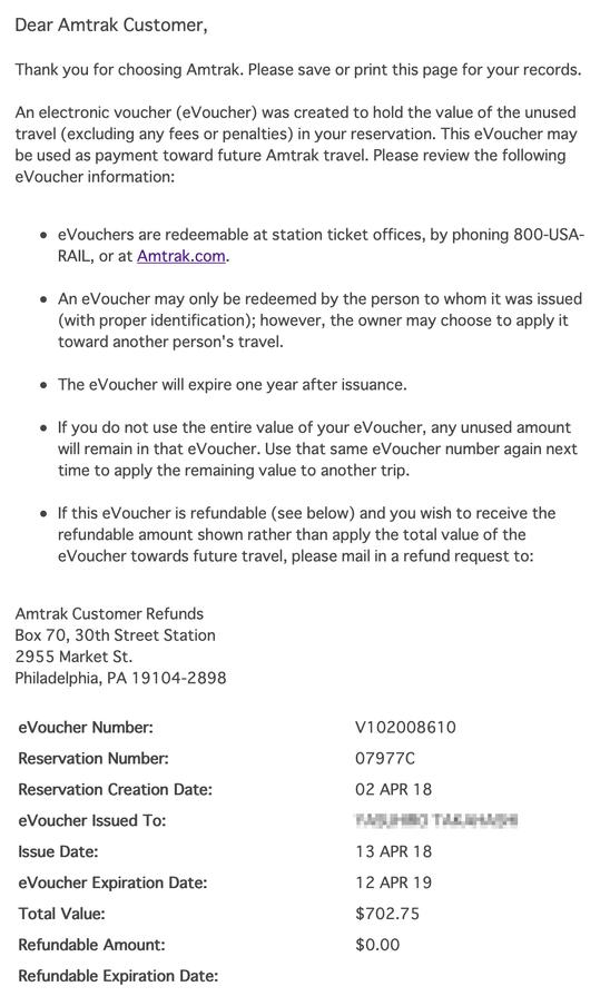 Amtrakのチケットをキャンセル eVoucher
